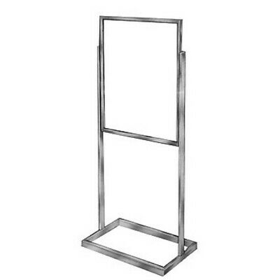 "Store Fixture Supplies SINGLE BULLETIN FLOOR SIGN HOLDER CHROME FINISH 57"" tall"
