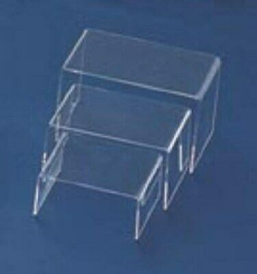 "Store Display Fixtures NEW 3 PIECE SET FROSTED ACRYLIC RISERS 2.5"" to 4.5"" TALL"