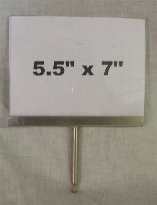 "Store Display Fixtures 5 ACRYLIC 5½""Hx7""W SIGN HOLDERS WITH CHROME 3"" STEM"