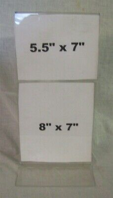 """Store Display Fixtures 2 NEW ACRYLIC DOUBLE COUNTER TOP SIGN HOLDERS 7"""" X 14"""" T"""