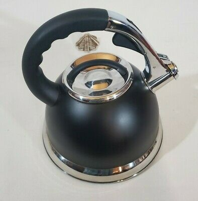 Creative Home 77032 Camille Stainless Steel Whistling Tea Kettle, 3-Quart, Black