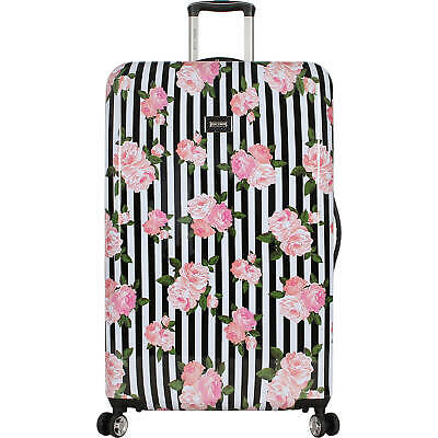 ❤️Betsey Johnson 30 In Hardside Spinner Suitcase Luggage Stripe Roses Dots Nwt❤️