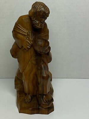 Wood Gentleman Holding A Bowl Hand Carved