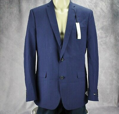 Bar III Mens Slim Fit Active Stretch Two Button Blazer Jacket Blue Size 44 Long