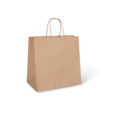 NEW Brown Paper Takeaway Carry Bags - 305mm - 305mm - CARTON(250) - Kent Paper