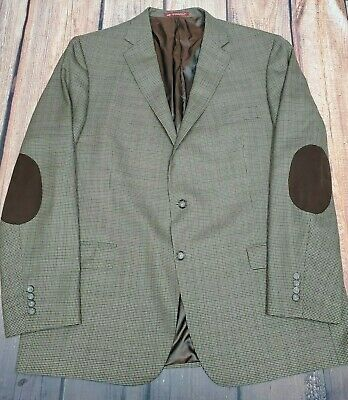 Hart Schaffner Marx Brown Houndstooth Sport Coat Mens Jacket Suede Elbow 50L