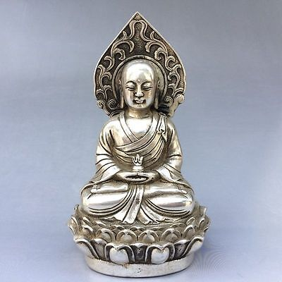 Collectible decorate old Chinese Tibet silver Handwork carved Buddha Statue