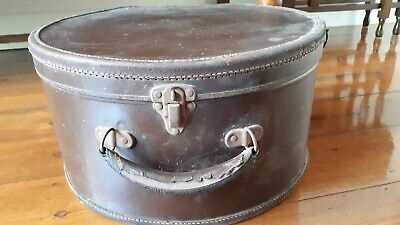 Vintage Hat Box - Brown Leather With Material Lining.