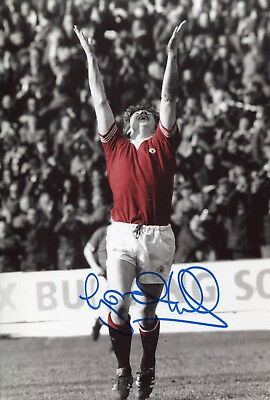 Footballer Gordon Hill signed Manchester United FA Cup  photo UACC DEALER