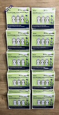 (30 PCS ) Leviton T5632 3.6A USB Charger/Tamper Resistant Outlets 15-Amp White