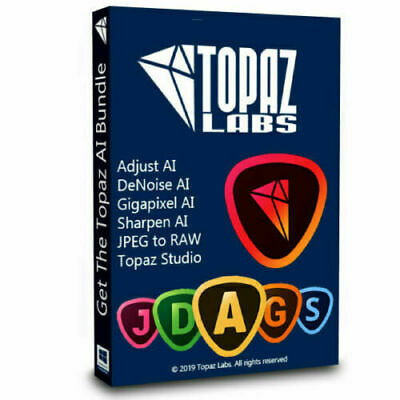 Topaz AI Pack Bundle | Studio-Adjust-DeNoise-Gigapixel-Sharpen-JPEGtoRAW | Win64