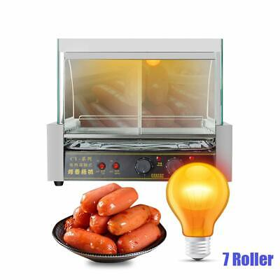 Hot Dog Roller Grill Hotdog Sausage Machine Commercial 7 Rollers 1000W