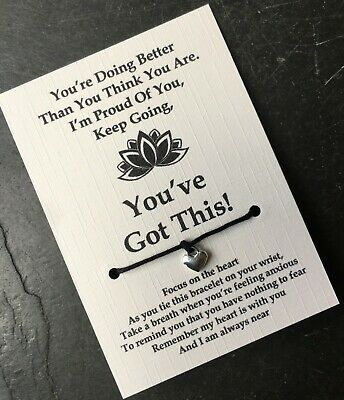 You've Got This Worry Anxiety Wish Bracelet String Yoga Charm Friendship Card