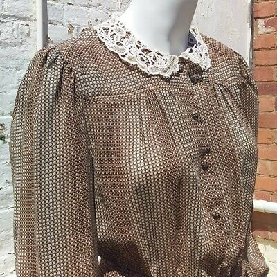 1970s Vintage KATIES Secretary Button Front Midi Dress Sheer Lace Collar 8 10 12