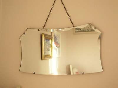 Antique vintage Art Deco frameless Mirror Scallop edge Hall Overmantle Bedroom