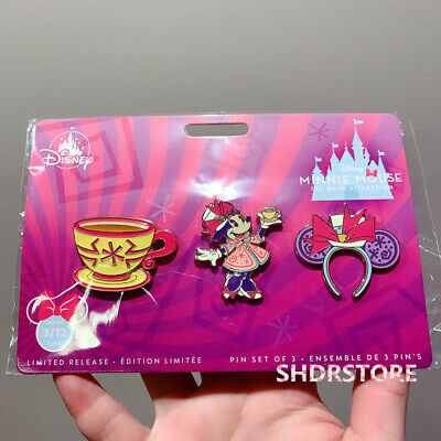 Minnie mouse the main attraction mad tea party pin set disney store march month