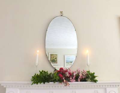 Oval Antique vintage Art Deco scalloped bevel edge frameless mirror Bedroom