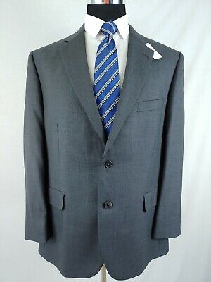 Brooks Brothers Solid Gray Wool 2 Button Suit Half Canvassed Mens Size 44R 40W