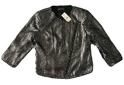 Express Cropped Jacket XS Sequin Moto Zipper Pewter Silver Black Raw Edges $128