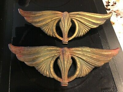 Vintage Art Deco Curtain Drapery Finial Clamps Tiebacks S/2 Cast Metal