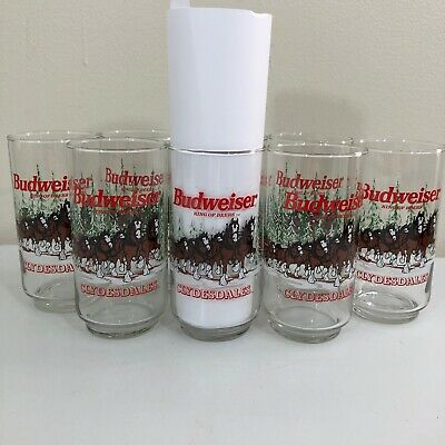 Set of 8 Vintage 1989 Budweiser Drinking Glasses Holiday Winter Scene Clydesdale