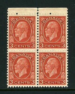 CANADA Scott 197 - NH - BLK of 4 - 3¢ Deep Red George V Medallion Issue (.068)