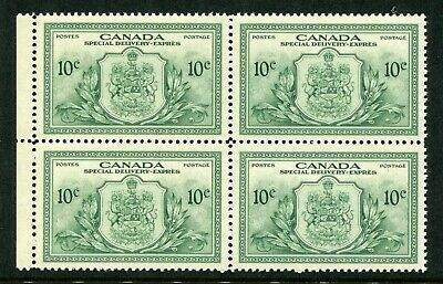 CANADA Scott E11 - NH - BLK of 4 - 10¢ Green Special Delivery (.052)