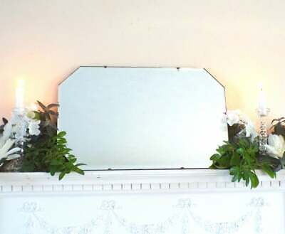 Antique vintage Art Deco frameless Mirror Piecrust edge Hall Overmantle Bedroom