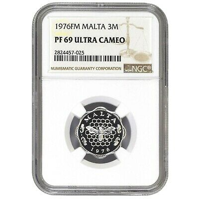 Malta 3 Mils 1976FM Franklin Mint Bee Over Honeycomb NGC PF 69 Ultra Cameo KM# 6