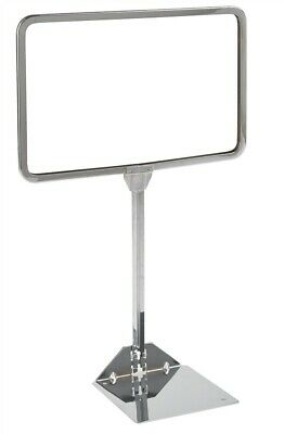 "Store Fixture Supplies 2 NEW SHOVEL BASE CHROME SIGN HOLDERS 14"" W x 11"" T"