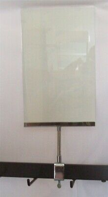 """2 New 7"""" x 11"""" Acrylic Sign Holder Card Frames With Rectangle Tubing Base 15"""" T"""