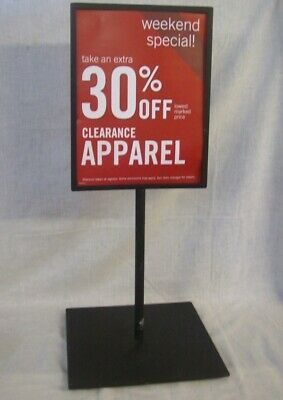 "Store Fixtures WEIGHTED BASE TABLE TOP SIGN HOLDER 23"" tall HOLDS 8.5"" x 11"""