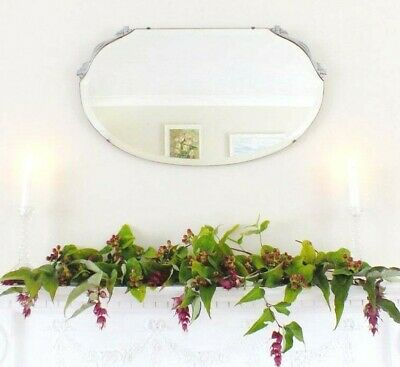 Antique vintage Art Deco frameless Mirror Silver detail Hall Overmantle Bedroom