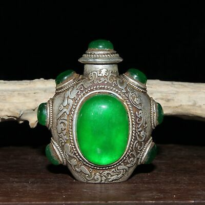 Collect Chinese Old Miao Silver Mosaic Jade Hand-Carved Noble Rare Snuff Bottles