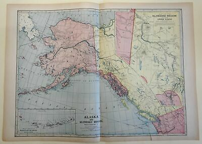 Klondike Gold Region Alaska Aleutian Islands c. 1900 Miller detailed large map