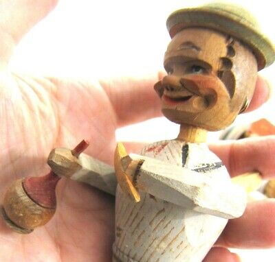 Wood Mechanical Bottle Stopper Man Drinking Smoking Cigar Lever Vintage As Is