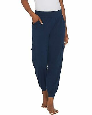 AnyBody Womens Petite Cozy Knit Cargo Jogger Pants X-Large Navy A310165