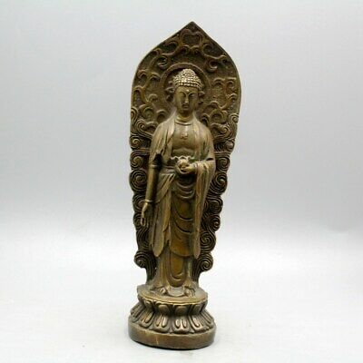 China Collectable Qianlong Years Old Copper Hand-Carved Auspicious Buddha Statue