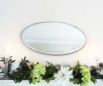 Oval Antique vintage Art Deco frameless mirror Hall Overmantle Bedroom Bathroom