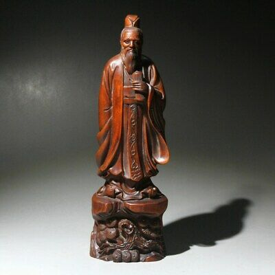 Collectable China Old Boxwood Handwork Carve Ancient Poet Li Bai Precious Statue