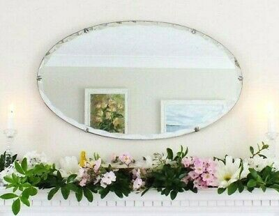 Oval Antique vintage Art Deco frameless scalloped mirror Overmantle Bedroom