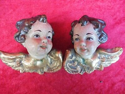 2 Beautiful, Old Wooden Figures, Putti - Pair, Carved and Encased, Angel