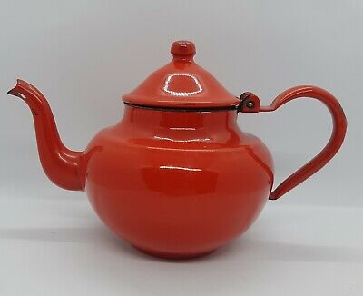Vintage Red Enamel Teapot Hinged Lid 15cm High Used Collectable