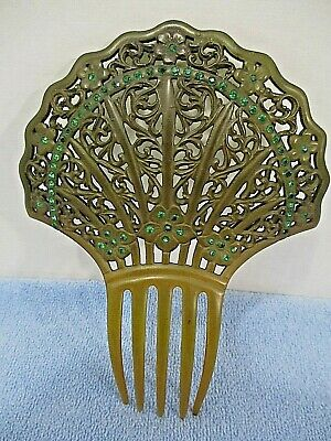 "Vintage Large Celluloid Hair Comb/Crown Green Rhinestones 6.75"" x 5"""