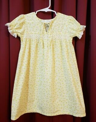 Vintage Girl's Nightgown Cotton, Yellow, Floral, Lace by Young Mate Size: 3T