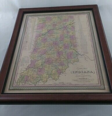 Old Antique 1850 State of Indiana Map Thomas Cowperthwait Co Hand Colored Framed
