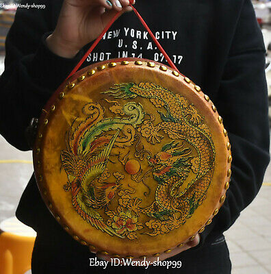 Old Chinese Wood lacquerware Ancient Dragon Phoenix Drum Drums Tambour Statue