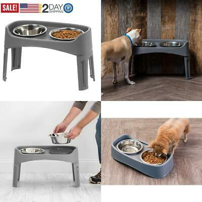 Elevated Double Dog Bowls Raised Feeder Stand Food Water Dish Stainless Steel