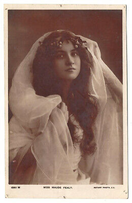 OLD POSTCARD Actress c.1900's Miss Maude Fealy with xmas holly & tulle