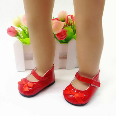 Handmade Red Flats Shoes w/Bow For 18 inch General Party Doll NICE Clothes C4J9
